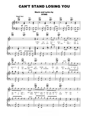 Sheet Music The Police - Can't Stand Losing You