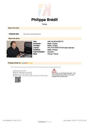 Sheet Music PHILIPPE BREDIF - UNE VALSE MUSETTE