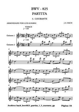 Sheet Music bach bwv0825 partita 1 3 courante