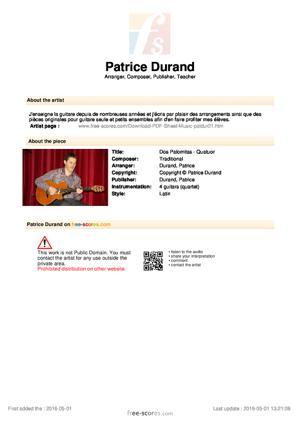 Sheet Music Dos Palomitas - Quatuor