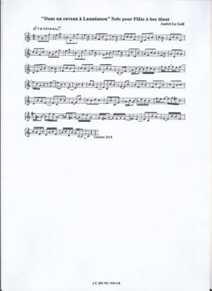 Sheet Music Solo for tenor recorder
