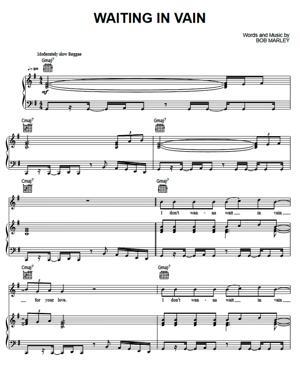 Sheet Music Bob Marley - Waiting In Vain