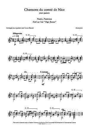 Sheet Music Pastre, Pastressa