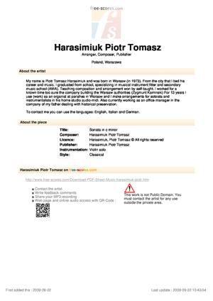 Sheet Music Piotr Tomasz Harasimiuk - Sonata in c minor