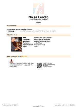 Sheet Music Dalla sua pace (Don Giovanni)