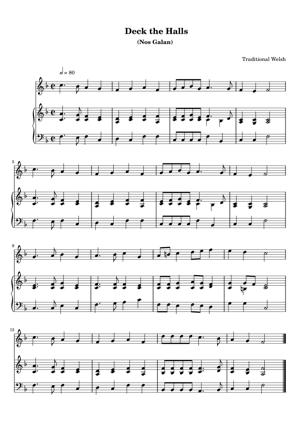 Sheet Music Traditional Welsh - Deck the Halls
