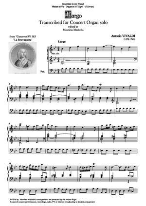 Sheet Music Largo Cantabile. Transcribed for Concert organ solo