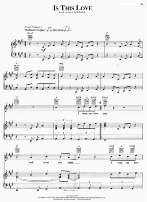 Sheet Music Bob Marley - Is This Love