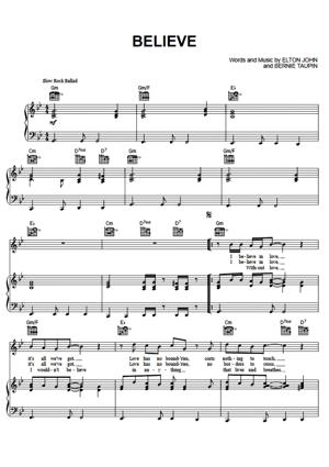 Sheet Music Elton John - Believe