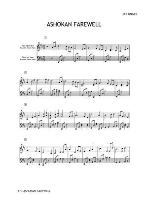 Sheet Music Jay Unger - Ashokan Farewell