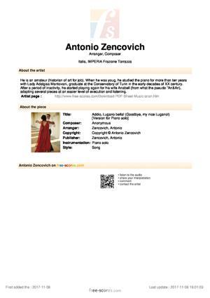 Sheet Music Addio, Lugano bella! (Goodbye, my nice Lugano!)