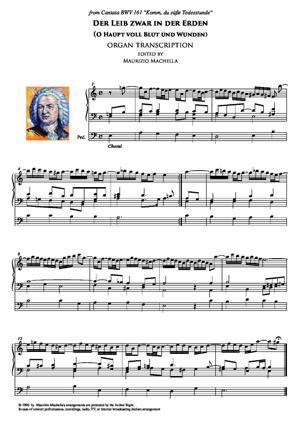 Sheet Music Choral Der Leib zwar in der Erden (O Haupt voll Blut und Wunden) Organ transcription