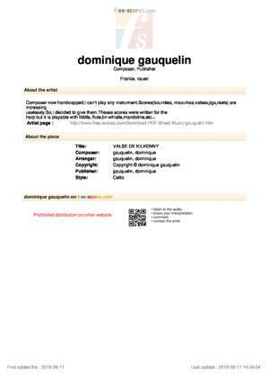 Sheet Music VALSE DE KILKENNY