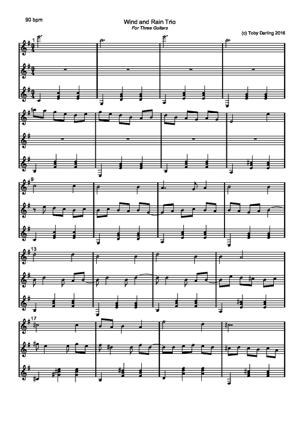 Sheet Music Wind and Rain trio