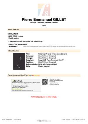Sheet Music Habanera n°1 en la mineur (pour débutant)