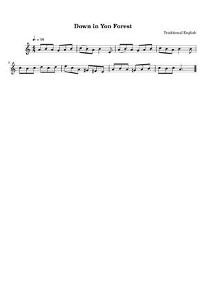 Sheet Music Traditional English - Down in Yon Forest