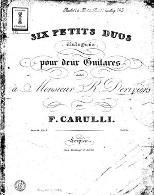 Sheet Music Six small dialogued duos for two guitars