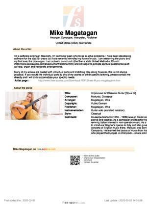 Sheet Music Improvviso for Classical Guitar