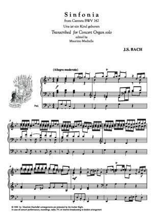 Sheet Music Sinfonia from Cantata BWV 142 (Author Johann Kuhnau) Organ transcription