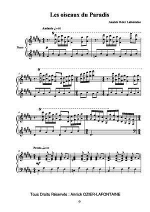 Sheet Music Oiseaux du Paradis