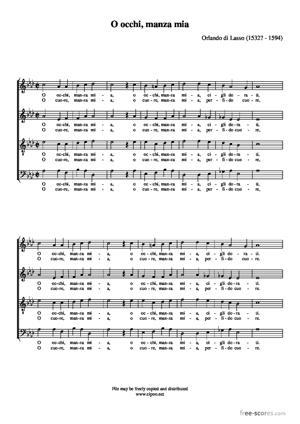 Sheet Music O occhi, manza mia