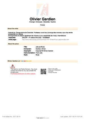 Sheet Music Olivier Gardien - Jalouse Blues