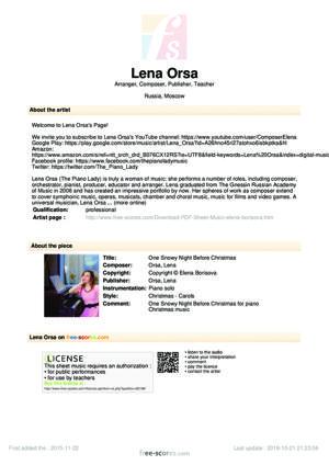 Sheet Music Lena Orsa - One Snowy Night Before Christmas