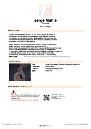 Sheet Music Suite Violoncelle nº 2 Opus 218 preludio