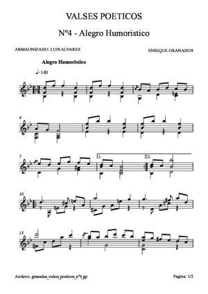 Sheet Music granados op10 valses poeticos 4 gp