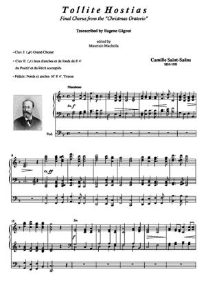 """Sheet Music Tollite Hostias. (Final Chorus from """"Christmas Oratorio"""") Organ transcr. E. Gigout"""