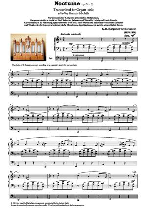 Sheet Music Nocturne Op.3 n.2 Transcribed for Organ solo