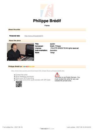 Sheet Music PHILIPPE BREDIF - epsilon