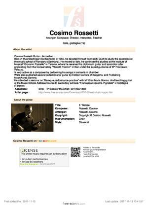 Sheet Music Cosimo Rossetti - E ' Natale