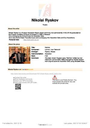 Sheet Music Kalinka