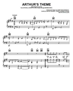 Sheet Music Christopher Cross - Arthur's Theme