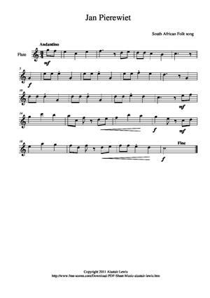 Sheet Music Jan Pierewiet