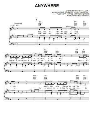 Sheet Music Rita Ora - Anywhere