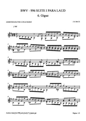 Sheet Music bach bwv0996 suite laud nº1 6 gigue
