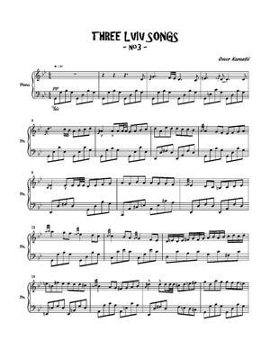 Sheet Music Three Lviv songs no.3