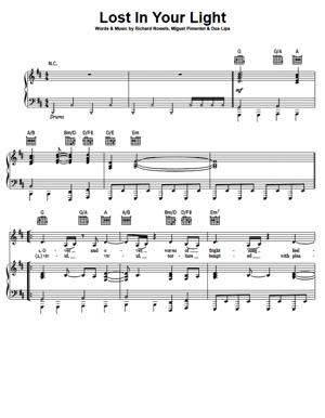Sheet Music Dua Lipa feat Miguel - Lost In Your Light