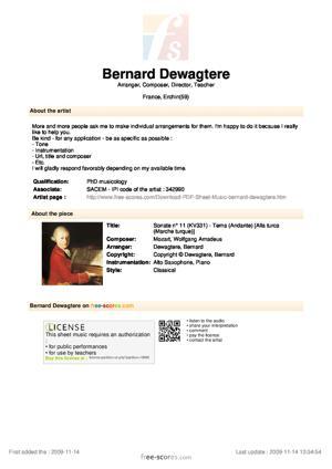 Sheet Music Sonate n° 11 (KV331) - Tema (Andante)
