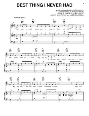 Sheet Music Beyonce - Best Thing I Never Had