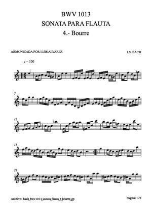 Sheet Music bach bwv1013 sonata flauta 4 bourre