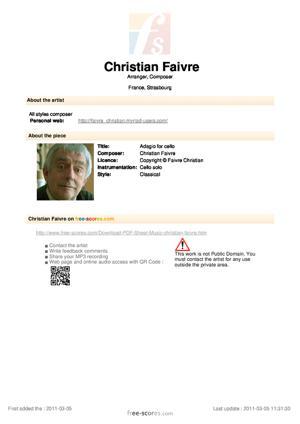 Sheet Music Faivre Christian - Adagio for cello