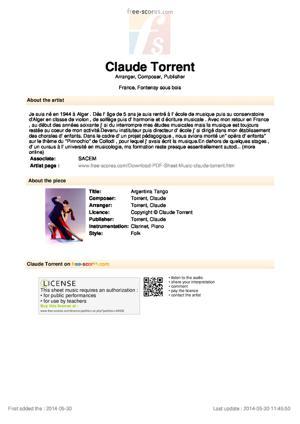 Sheet Music Argentina  Tango