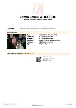 Sheet Music FOFONYE WO KO MALE D'ASI