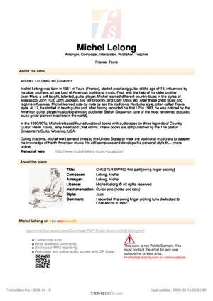 Sheet Music CHESTER SWING-first part