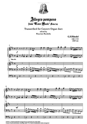 """Sheet Music """"Allegro pomposo"""". Transcribed for Concert Organ duet (4 Hands and Ped.)"""