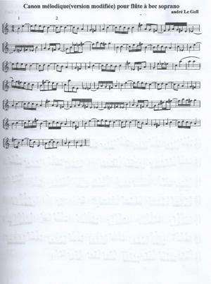 """Sheet Music """"Canon mélodique pour deux flûtes à bec"""""""