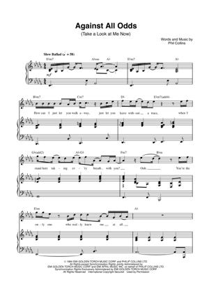 Sheet Music Phil Collins - Against All Odds